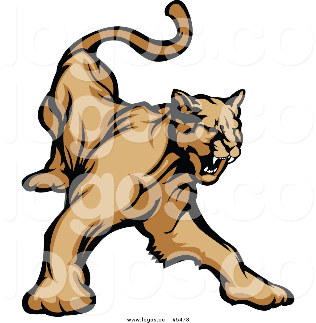 Angry cougar clipart hd jpg freeuse stock Royalty Free Vector of a Logo of an Angry Growling Cougar by ... jpg freeuse stock