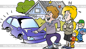 Angry family clipart clip art library Cartoon angry family man pointing at his new auto - vector clipart ... clip art library