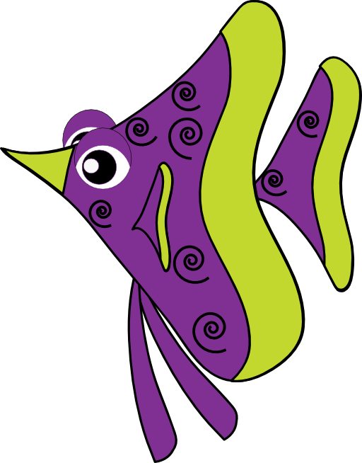Royalty free public domain. Cute purple fish clipart