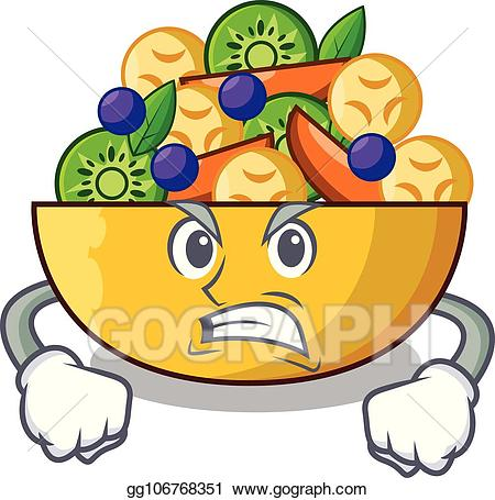 Angry fruits clipart banner free library Vector Clipart - Angry mascot diet fresh tasty fruit salad. Vector ... banner free library