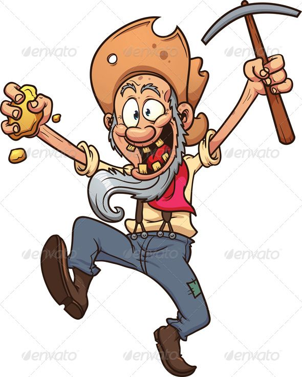 Angry gold miner clipart