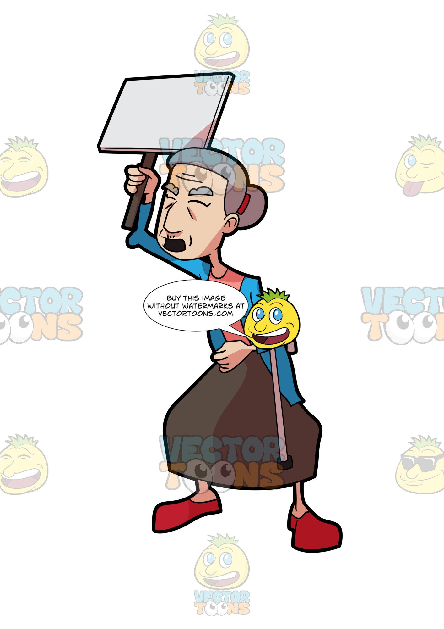 Angry grandma clipart vector free download An Angry Grandma Rallying With A Sign Board vector free download