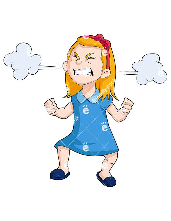 Animated angry face clipart vector library download A Little Girl With An Angry Face And Steam Clouds Billowing From Her ... vector library download