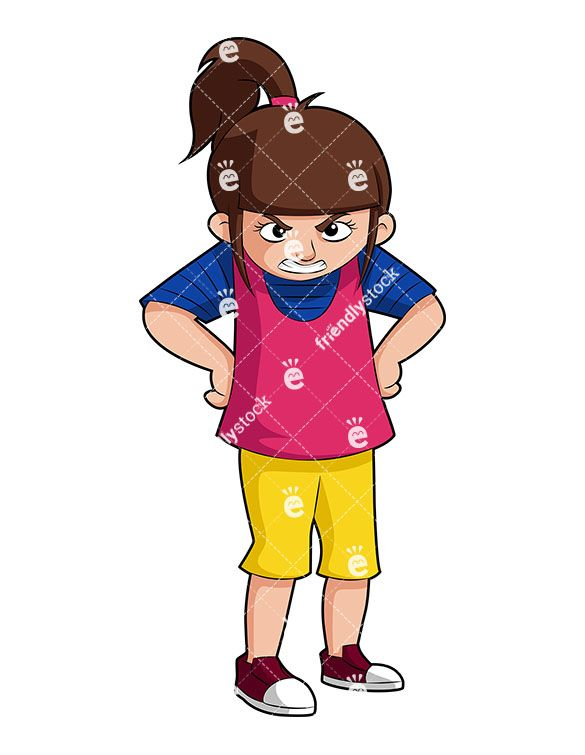 Woman with arms crossed side view frowning clipart image free stock A Mad Little Girl With Her Hands On Hips, Wearing A Mean Expression ... image free stock