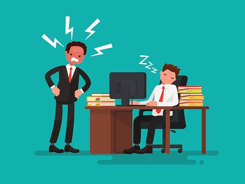 Angry office worker clipart clipart black and white Tired Office Worker Asleep AT Desk Next TO Angry Boss premium ... clipart black and white