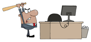 Angry office worker clipart clip art black and white download Anger Clipart Image - Mad Office Worker Taking His Anger Out on the ... clip art black and white download