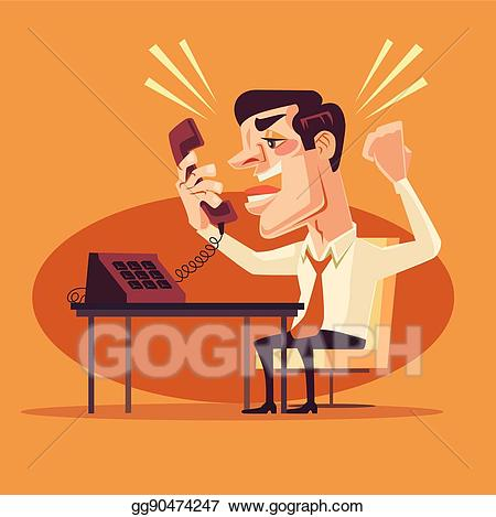 Angry office worker clipart vector free Vector Clipart - Angry office worker character shouting on phone ... vector free