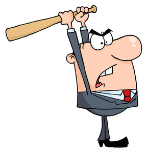 Angry office worker clipart banner free stock Mad Clipart Image - Angry Boss or Worker with a Baseball Bat banner free stock