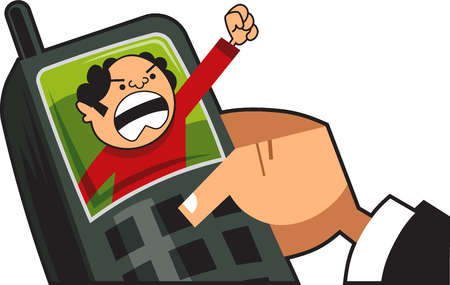 Angry on phone clipart picture library download Stock Illustration - Angry man shouting through a cell phone picture library download