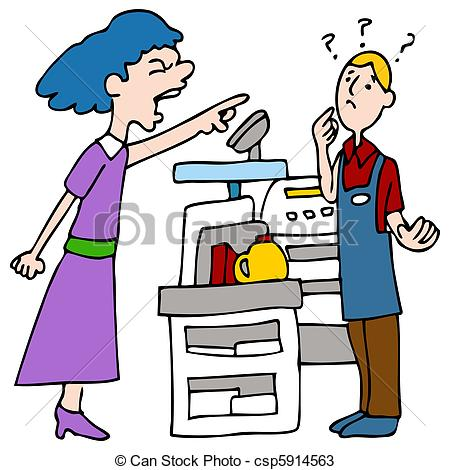Clipartfest customer yelling at. Angry store clerk clipart