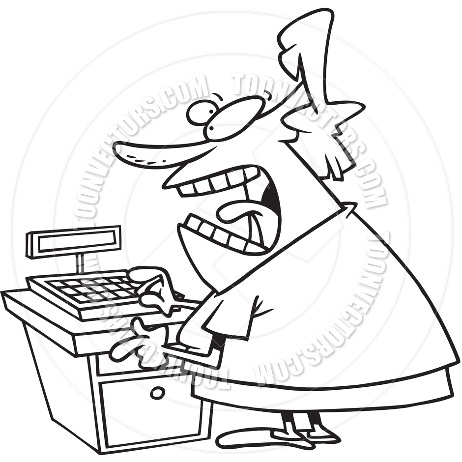 Angry store clerk clipart clipart stock Cashier Black And White Clipart - Clipart Kid clipart stock