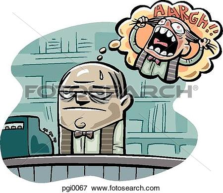 Angry store clerk clipart vector black and white download Stock Illustration of frustrated store clerk pgi0067 - Search EPS ... vector black and white download