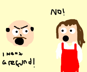 Angry store clerk clipart clip art freeuse library Store clerk smugly refuses to refund angry man (drawing by Meeep) clip art freeuse library