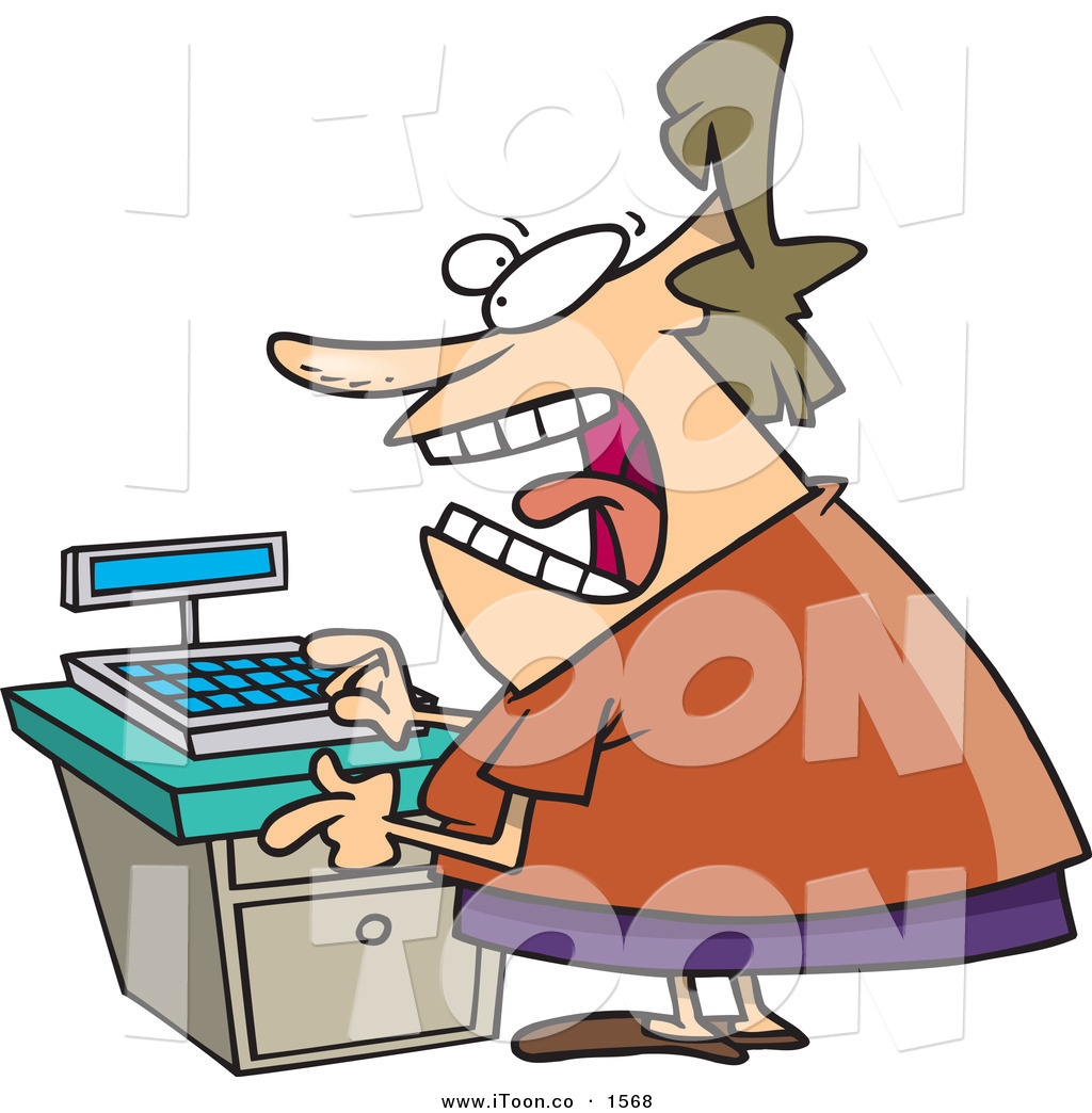 Angry store clerk clipart banner transparent Cartoon Stressed out and Angry Clerk Woman at a Cash Register in a ... banner transparent