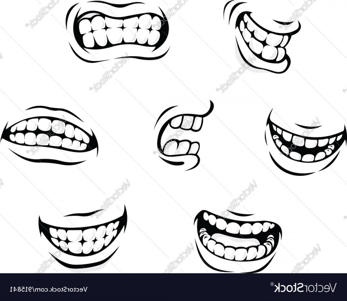 Angry teeth clipart svg freeuse download Smiling And Angry Cartoon Teeth Vector   SOIDERGI svg freeuse download