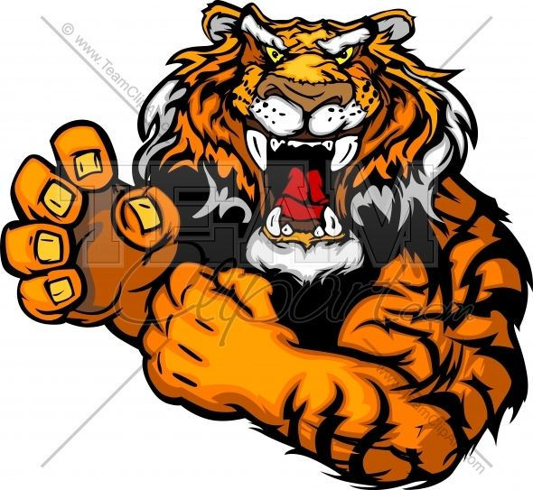 Angry tiger clipart image freeuse tiger mascot | Tough Tiger Mascot with Fighting Hands Vector Clipart ... image freeuse