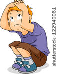 Cartoon frightened boy stock. Angst kind clipart