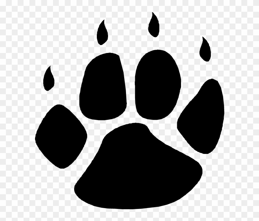 Bear black and white clipart bear paw banner transparent Grizzly Bear Paw Print Clipart - Wolf Paw Print Transparent - Png ... banner transparent