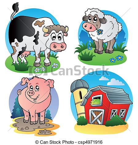 Animal 1 clipart clip download Clip Art Vector of Various farm animals 1 - vector illustration ... clip download