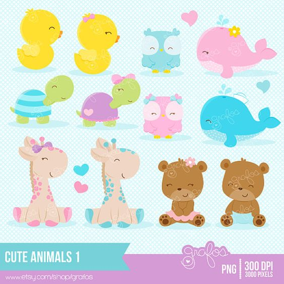 Animal 1 clipart png black and white library CUTE ANIMALS 1 Clipart, Baby Animals Clipart, Animals Clipart ... png black and white library