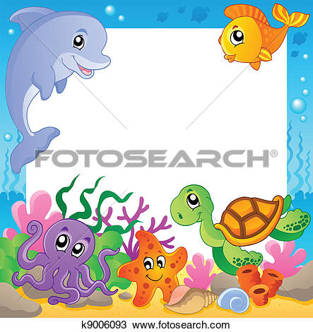 Animal 1 clipart svg transparent Clipart of Frame with underwater animals 1 k9006093 - Search Clip ... svg transparent