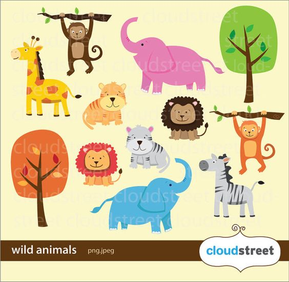 Wild Animals Clipart for personal and commercial use ( animal clip ... image library