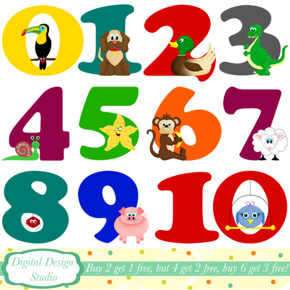 Animals With Numbers Clipart - Clipart Kid clip art black and white stock
