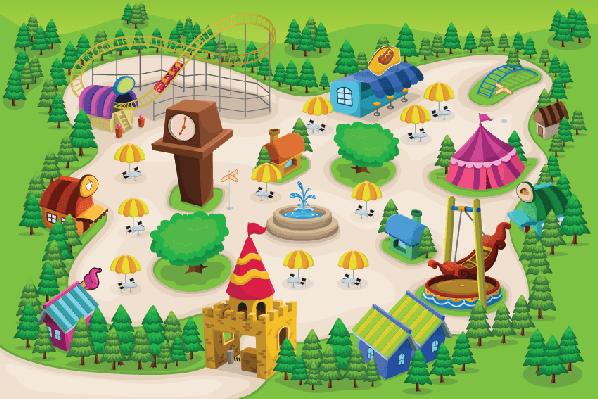 Animal amusement parks clipart vector free Amusement Park Map | Classroom Play | Park, Park art, Illustration vector free