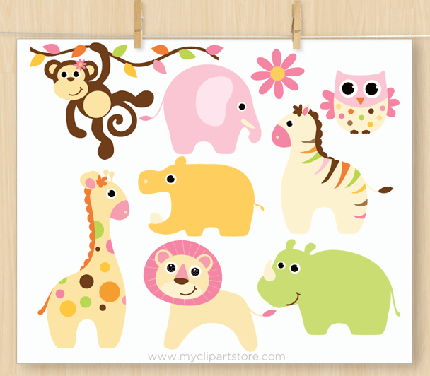 Animal baby clipart graphic transparent Baby Girl Safari Animals Clipart graphic transparent