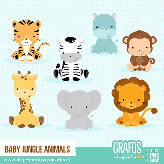 Jungle baby clipart clip royalty free library BABY JUNGLE ANIMALS - Digital Clipart Set, Animals Clipart, Zoo ... clip royalty free library