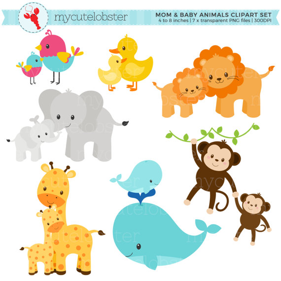 Animal baby clipart image free Mom and Baby Animals Clipart Set - clip art set of animals, mom ... image free