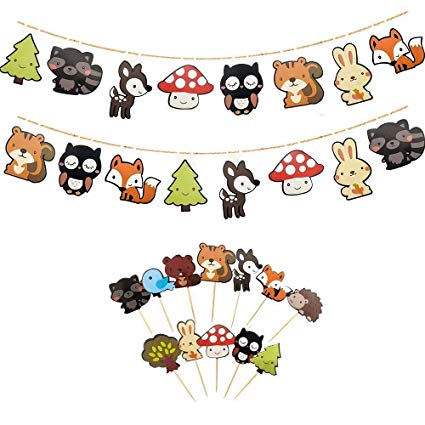 Animal banner clipart picture royalty free ALISSAR Set of 2 Cute Woodland Creatures Banners with 12-Pack Woodland  Animal Cupcake Toppers Picks, Kids Woodland Theme Baby Shower Birthday  Party ... picture royalty free