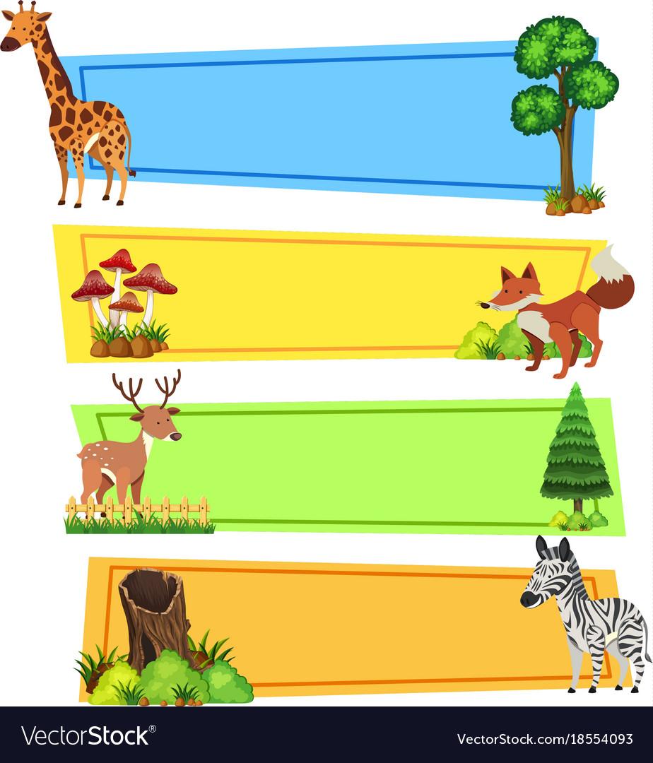 Animal banner clipart jpg download Banner template with wild animals jpg download