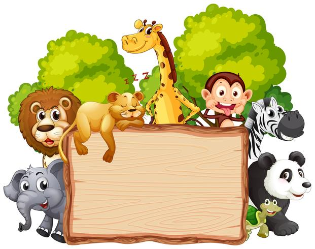 Animal banner clipart vector black and white library Wild animal on wooden banner Vector - Download Free Vector Art ... vector black and white library