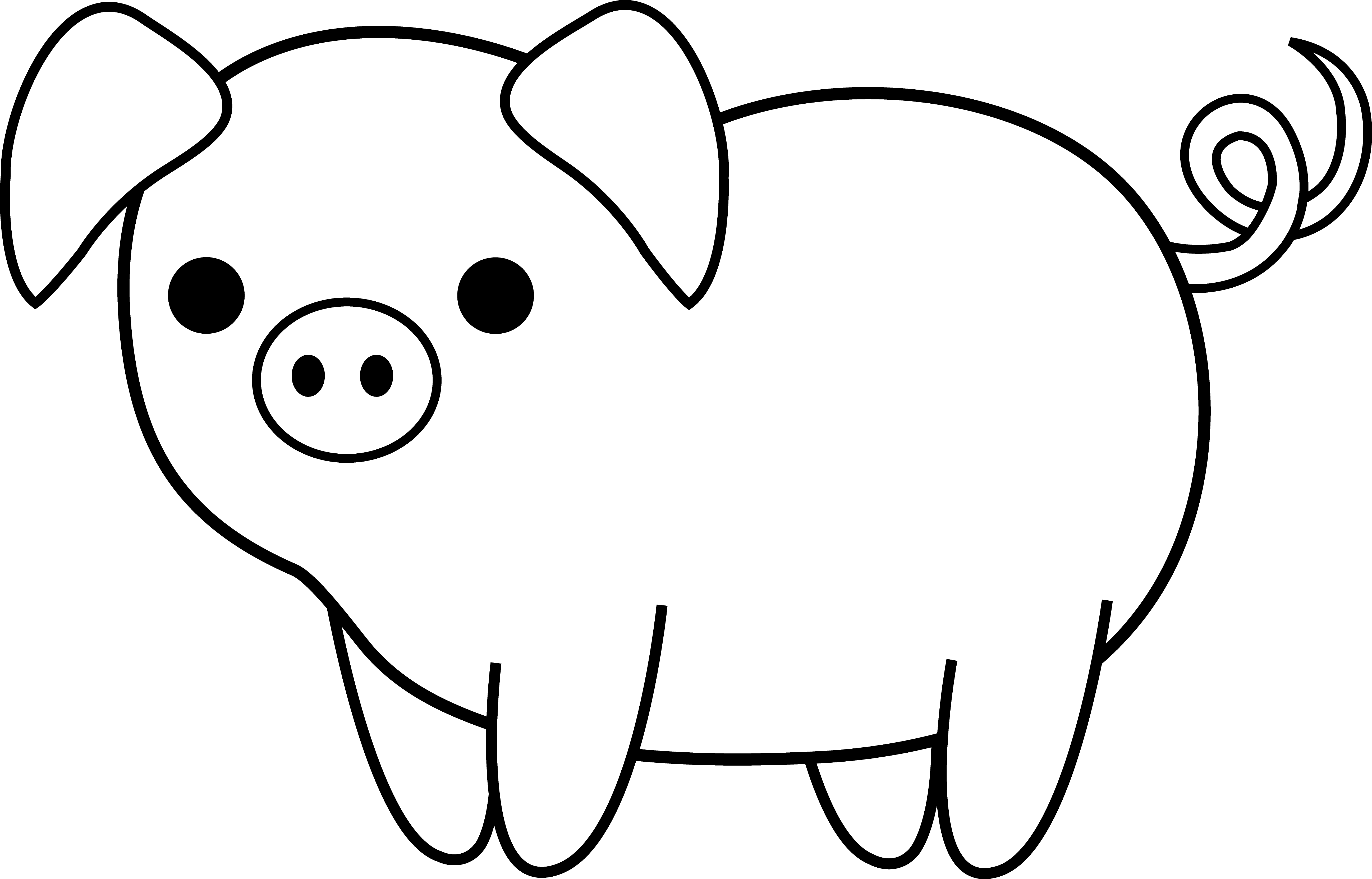 Free clipart black and white cute animal jpg free library Cute Black and White Pig | Clip Art | Pig drawing, Pig crafts ... jpg free library
