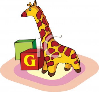 Animal blocks clipart image black and white download Clipart of a Toy Giraffe - AnimalClipart.net image black and white download