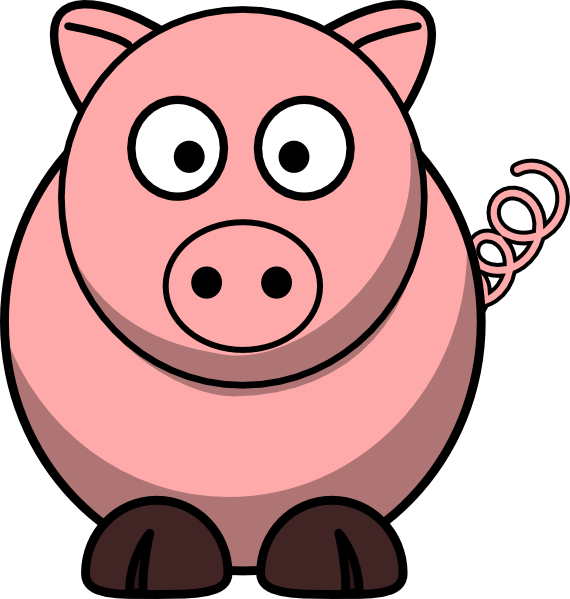 Free clipart of a pig. Cartoon piggie bank happy