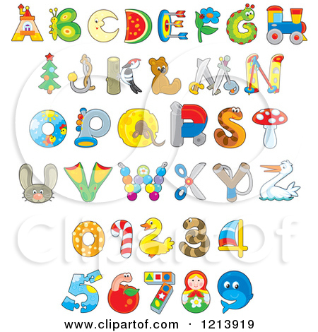 Animal clipart alphabet letters. Cartoon of colorful monster