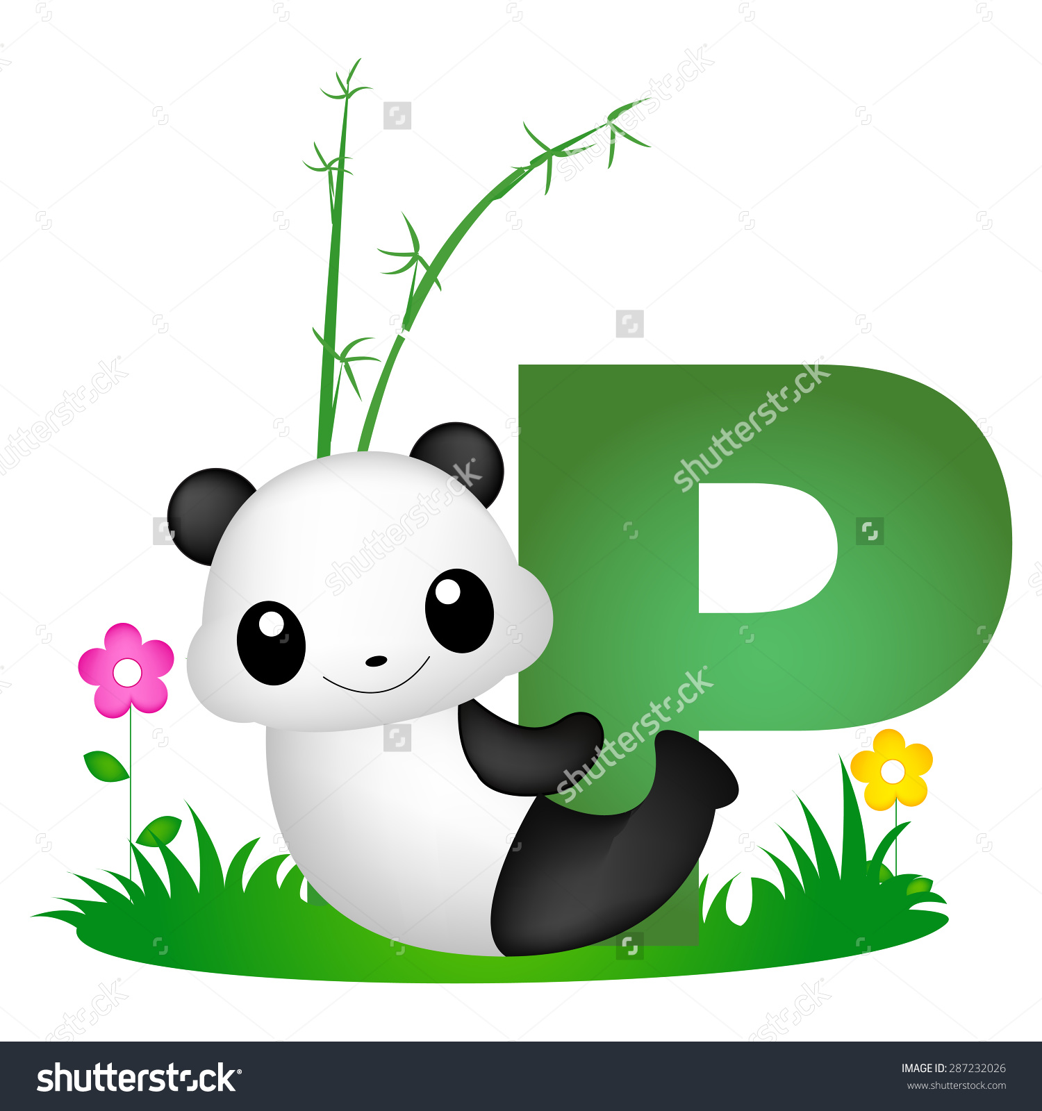 Colorful letter p cute. Animal clipart alphabet letters