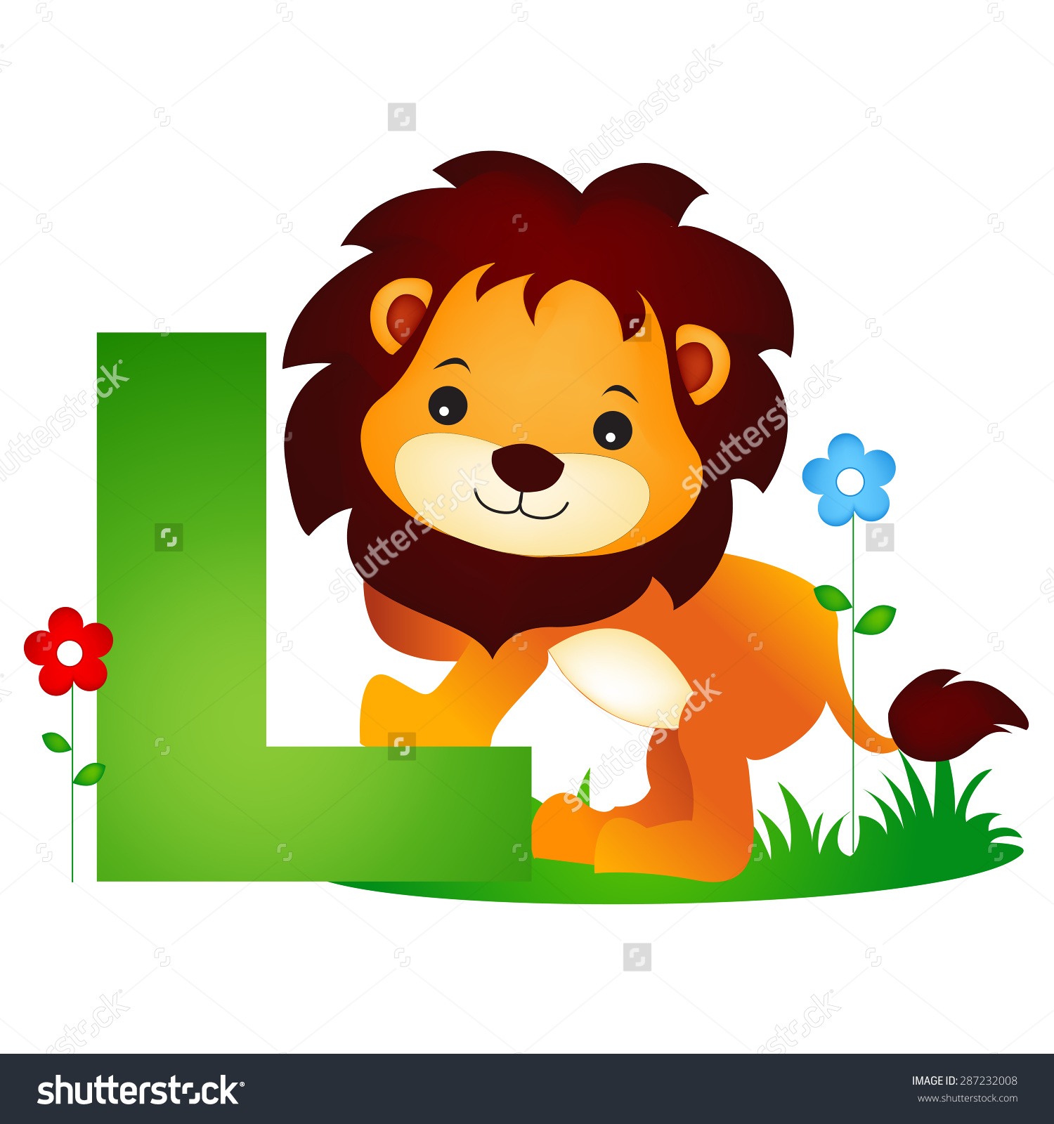 Animal clipart alphabet letters jpg freeuse library Colorful Animal Alphabet Letter L Cute Stock Vector 287232008 ... jpg freeuse library