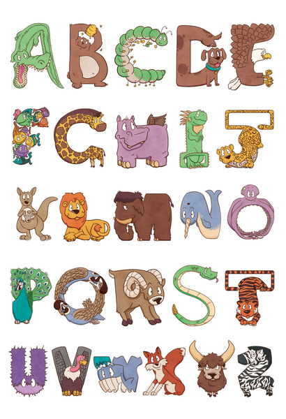Kid bendy zoo animals. Animal clipart alphabet letters