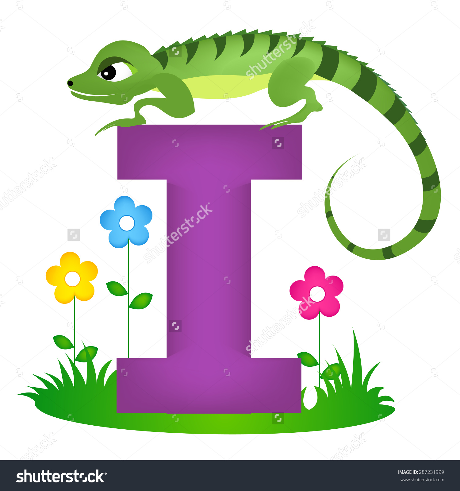 Animal clipart alphabet letters svg freeuse download Colorful Animal Alphabet Letter Cute Iguana Stock Vector 287231999 ... svg freeuse download