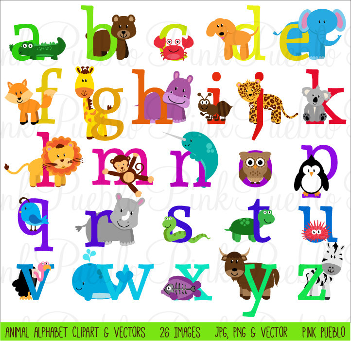 Animal clipart alphabet letters. Font with safari jungle