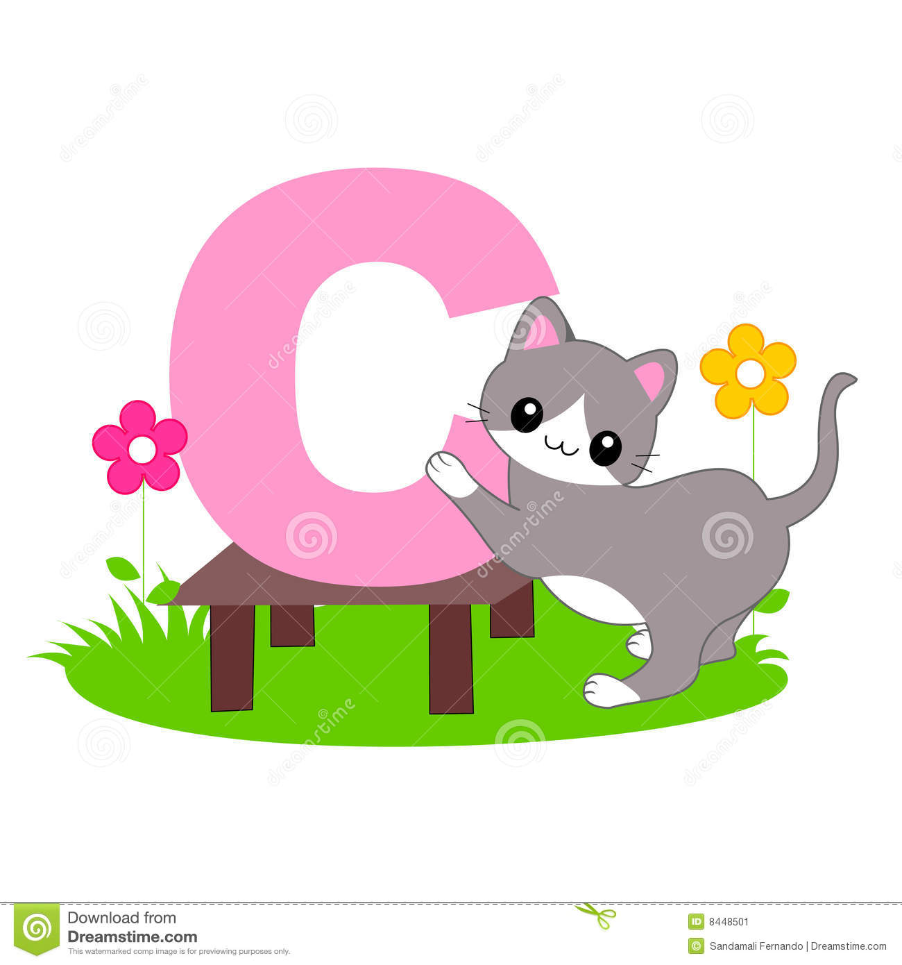 Animal clipart alphabet letters. Letter c stock image