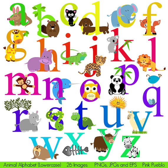 Animal clipart alphabet letters. Kid font with safari