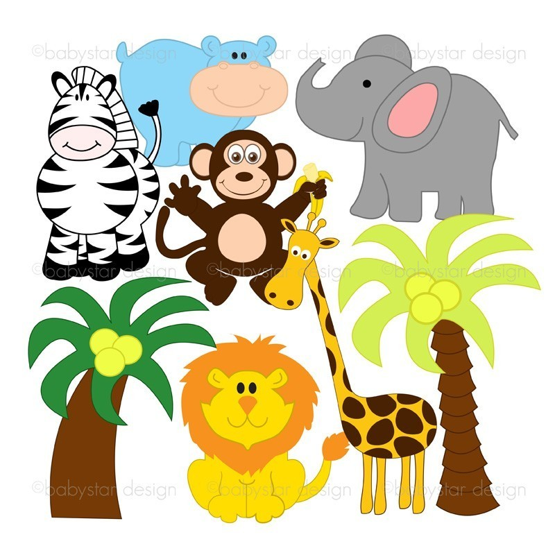 Jungle baby clipart graphic black and white library Free Cute Animals Clipart, Download Free Clip Art, Free Clip Art on ... graphic black and white library