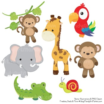 Animals cute clipart image library Wild Friends Cute Jungle Animals Clipart & Vectors image library