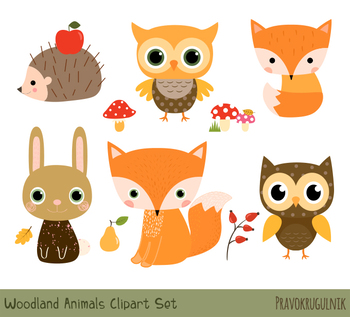 Woodlandfox clipart picture free library Cute Woodland Animal Clipart, Forest Animal Clip Art Set, Baby Fox Hedgehog  Owl picture free library