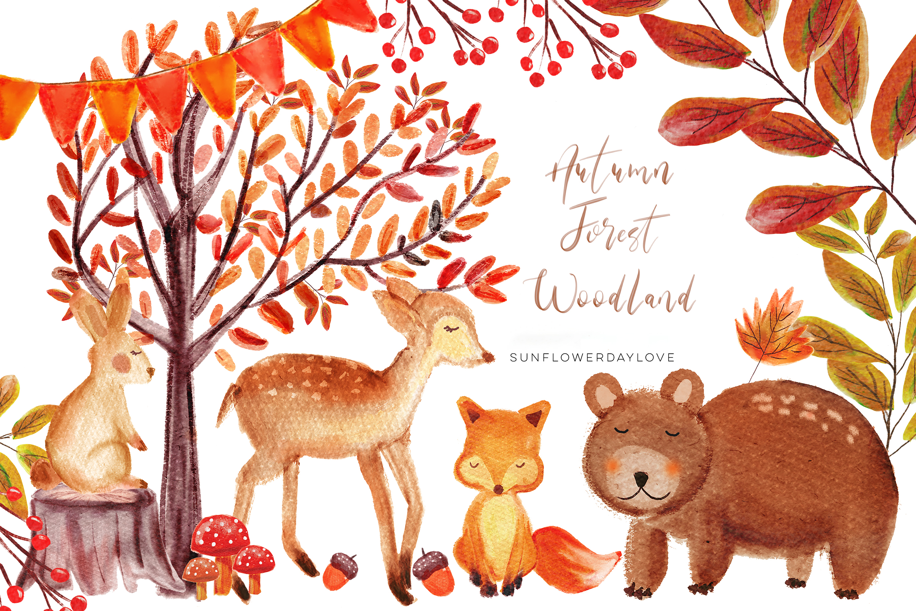 Watercolor woodland animals clipart clip art free Autumn Forest Woodland clipart, Watercolor Bear deer Clipart, Autumn  Clipart, Woodland Animals Clipart, Cute Nursery Clipart, Fall Clip Art -  Vsual clip art free