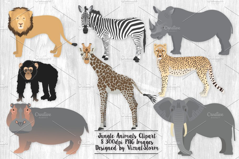 Animal clipart design banner library Jungle Animal Clip Art Illustrations banner library